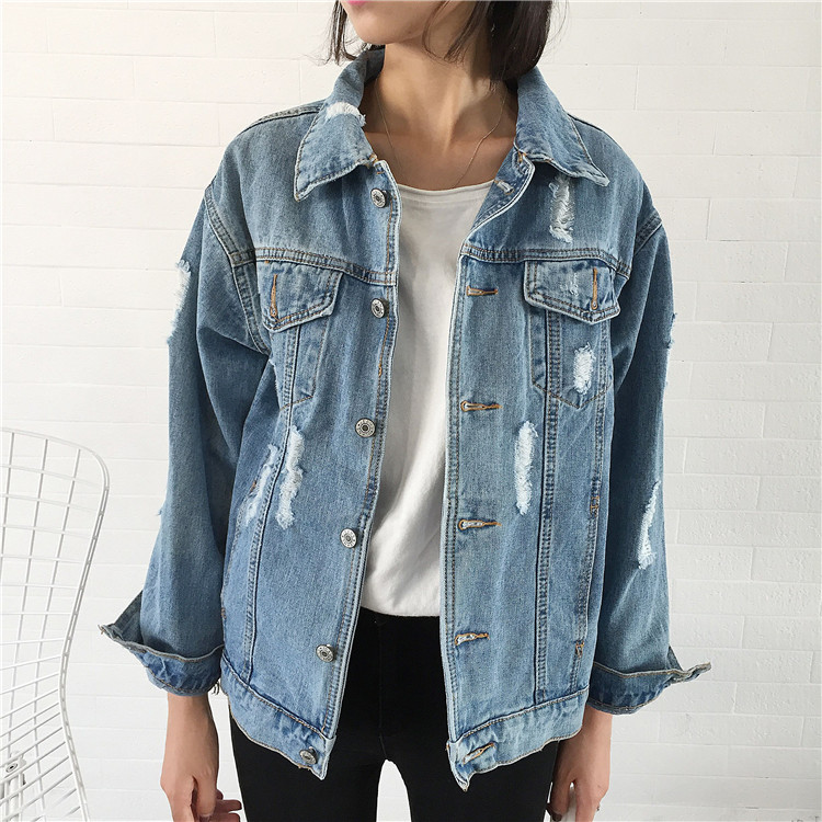 2017 spring new hole in denim jacket Women Korean version was thin loose denim jacket coat jacket female tide