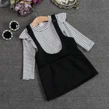 Children's wear braces skirt in the autumn of 2015 the new stripe small pure and fresh and fly sleeve braces skirt baby children cotton dress