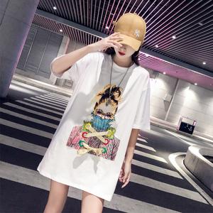 (实拍)潮牌短袖T恤女2019夏季新款韩版宽松嘻哈中长款ins上衣服
