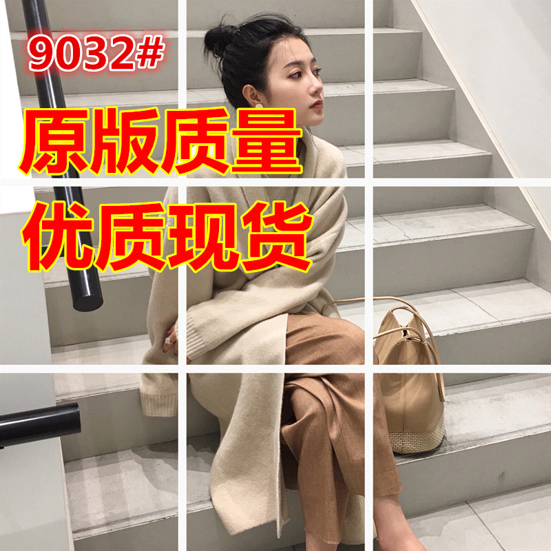 ◆ASM◆2018秋季新款百搭宽松针织衫翻领羊毛开衫中长款外套女装
