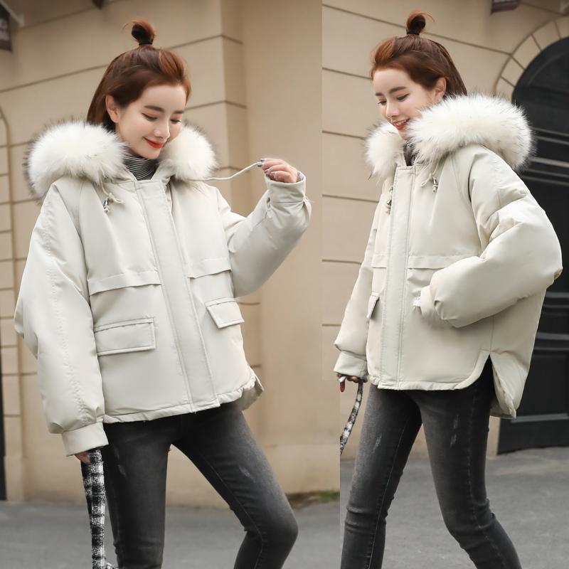 实拍 2018新款冬季外套韩版连帽大毛领棉衣女学生