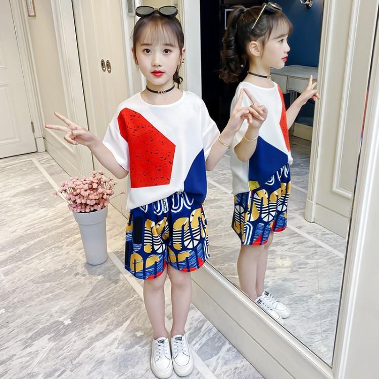 2021新款上新夏款女童中大童两件套时尚潮流款