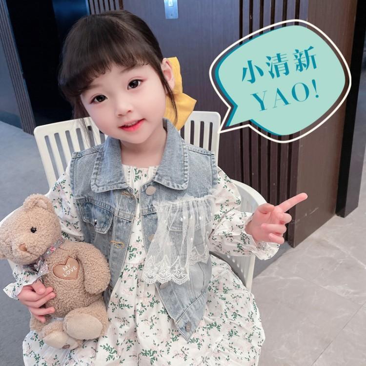 2021春秋新款女童连衣裙套装韩版中小童牛仔马甲拼纱两件套