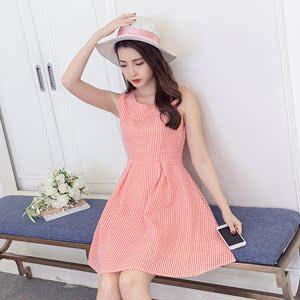 夏季收腰小清新雪纺无袖背心裙复古红色格子露腰A字连衣裙短裙子