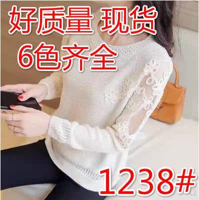 针织打底衫女薄款2019春装新款韩版宽松低圆领毛衣洋气内搭蕾丝衫