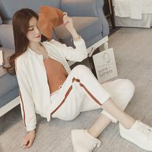 9855春秋2018新款休闲运动套装女修身长袖短款外套时尚两件套