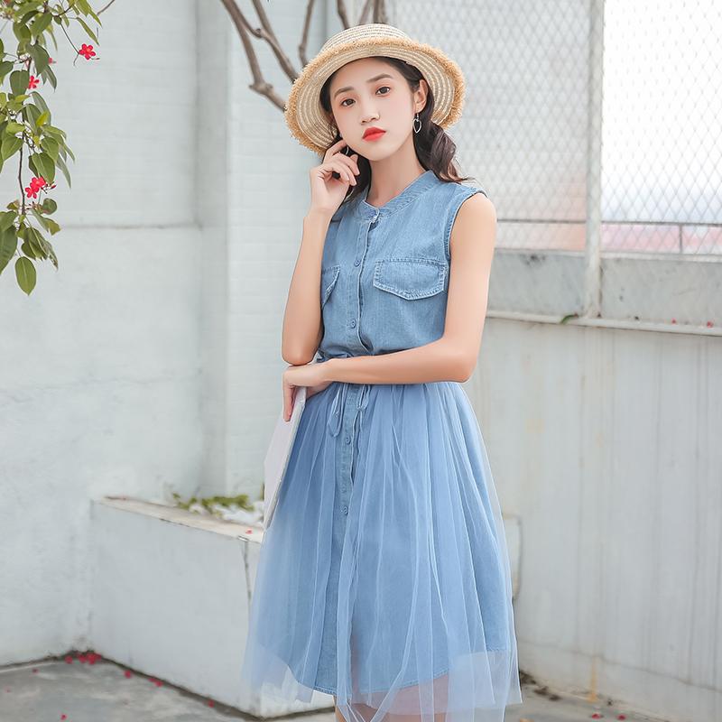 8191#清新两件套女夏2018新款韩版立领牛仔裙系带收腰网纱半身裙