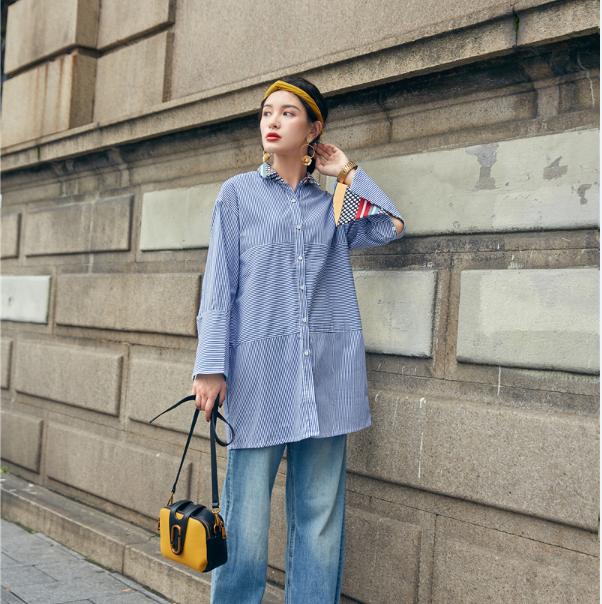 现货欧美风2017秋装女装新款蓝条纹衬衣上衣长袖喇叭袖气质衬衫