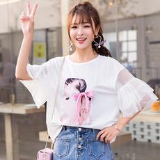 实拍大量现货2018年韩版个性学生小心机学院风短袖T恤女