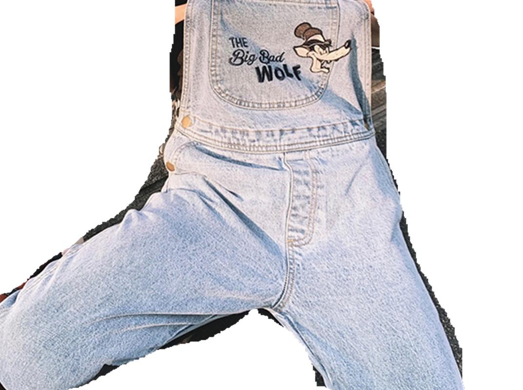 钱夫人系列网红卡通减龄牛仔背带裤女韩版吊带裤