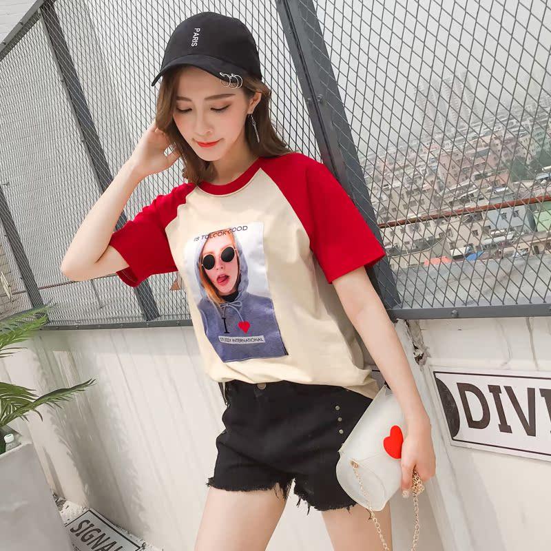 7001#现货拼接短袖t恤女韩版学生夏2018新款圆领体恤贴布时尚宽松