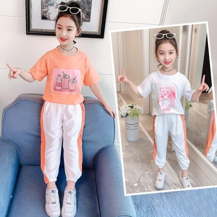 2021夏季女童新款短袖运动两件套韩版中大童纯棉小熊套装