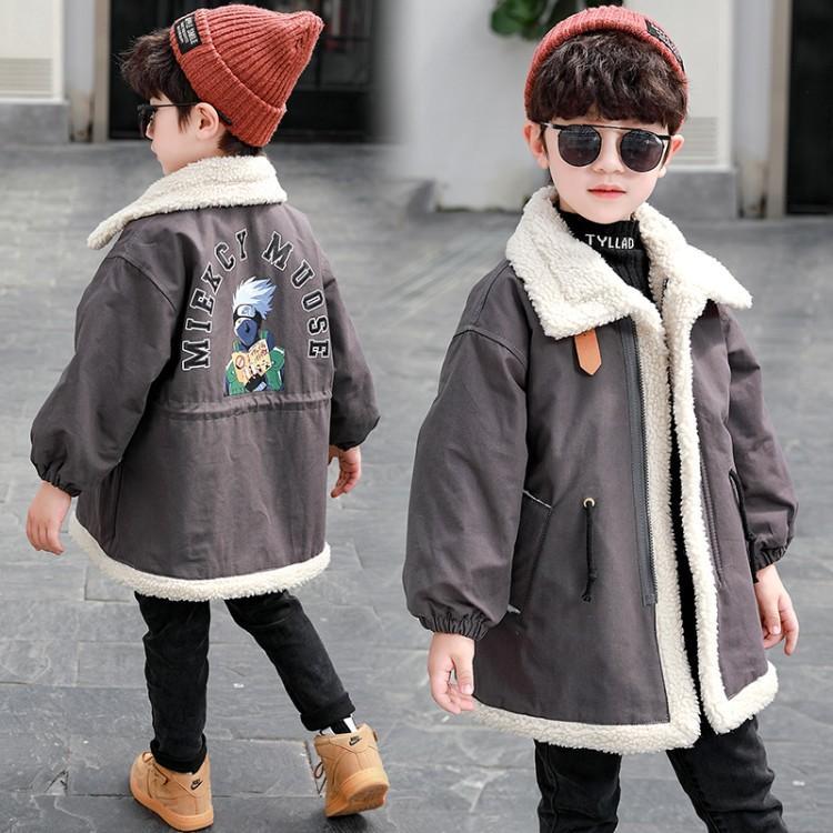 2020秋冬新款男童加绒双面穿外套韩版中小童中长款棉衣棉服童装