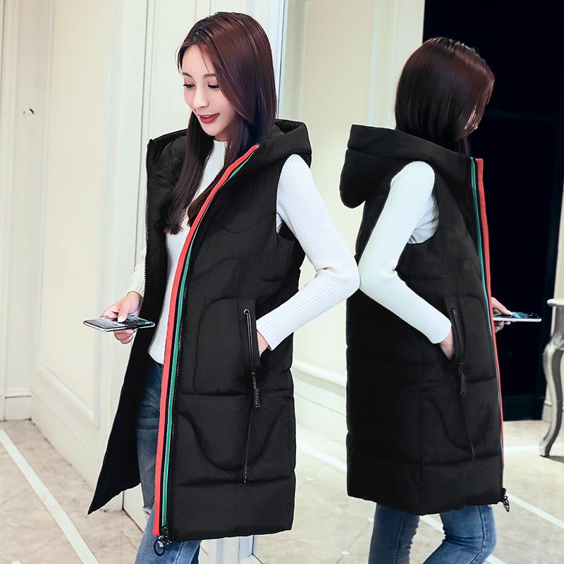 实拍18棉服女韩版中长款chic宽松ulzzang时尚学生马甲棉衣ins外套