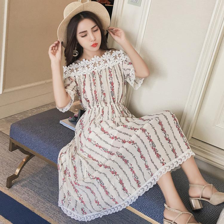 87031 模特实拍 一字领吊带碎花雪纺连衣裙女中长款度假长裙子仙