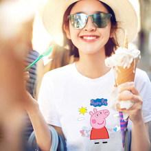101 (棉%5氨纶%)小猪佩奇衣服成人短袖t恤男女学生夏季情侣半袖