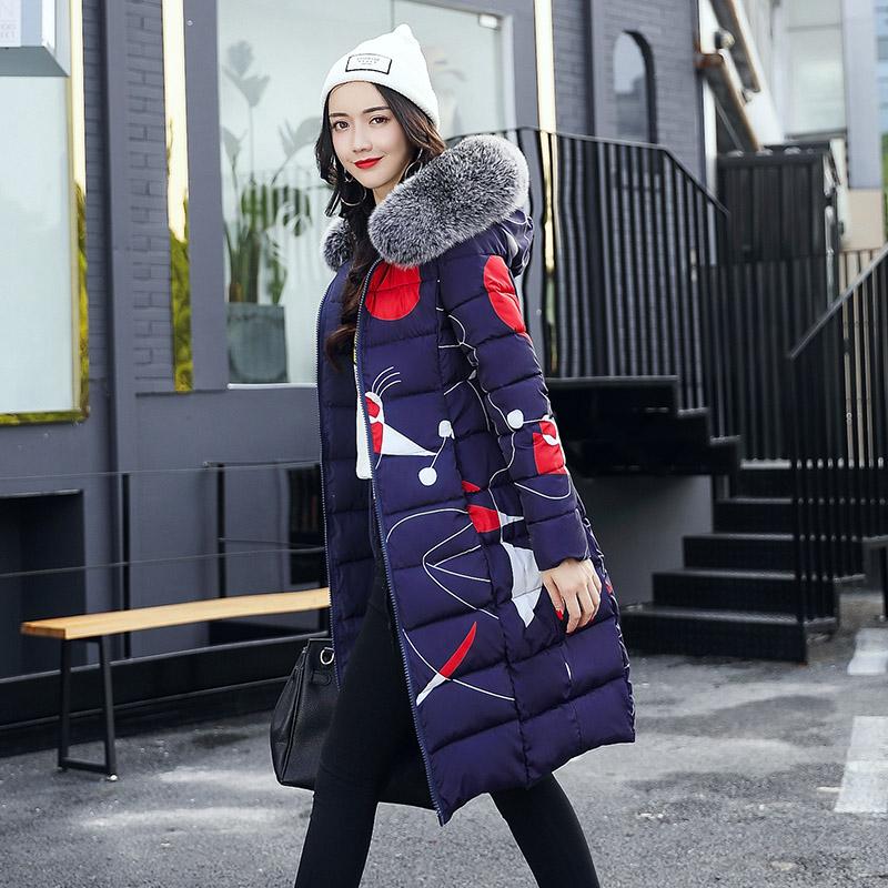 实拍2018新款中长款加厚大毛时尚领双面穿羽绒服棉服女外套冬