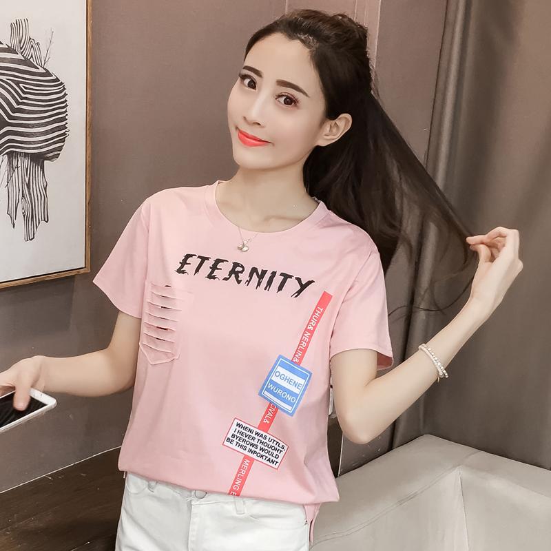 实拍(纯棉 已出货)2019夏季卡通口袋破洞印花短袖T恤衫女
