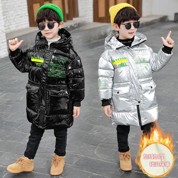 2020秋冬新款兒童棉衣棉服韓版中小童加絨加厚連帽字母印花外套