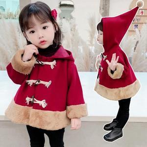 2021秋冬新款女童連帽上衣韓版中小童拼接呢子外套