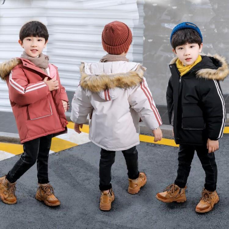 2020秋冬新款儿童棉衣外套韩版中大童连帽毛领口袋工装男女童棉服