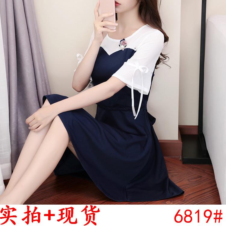 1圆领连衣裙女夏季春新款韩版拼接雪纺系带裙收腰显瘦A字裙