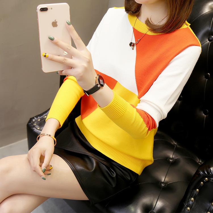 实拍韩版套头韩版宽松百搭撞色毛衣秋季新款女士长袖短款针织衫