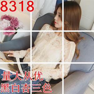 韩版春装一字领露肩蕾丝宫廷风上衣