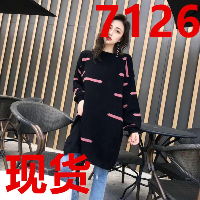 2018秋季新款羊绒中长款连衣裙圆领简约宽松毛衣裙韩版开叉套头衫