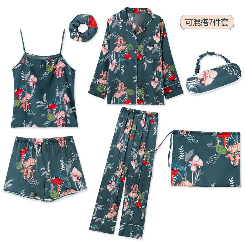8239#睡衣女夏七件套装真冰丝绸家居服吊带背心韩版薄款植物花春