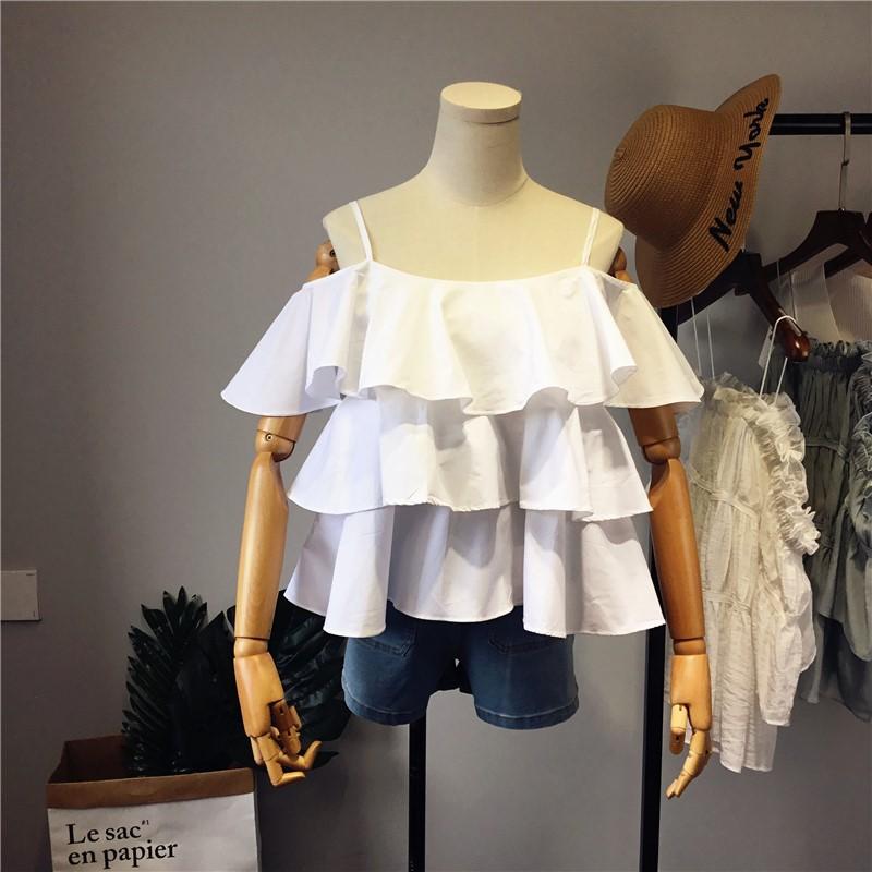 春夏新款甜美小清新荷葉邊喇叭袖一字領露肩吊帶寬松襯衫白上衣女