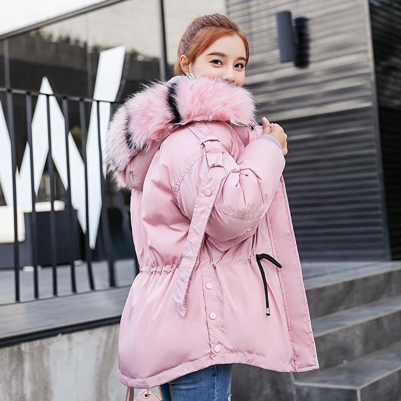实拍2018韩版冬季羽绒服女加厚学生大毛领短款小棉袄面包服