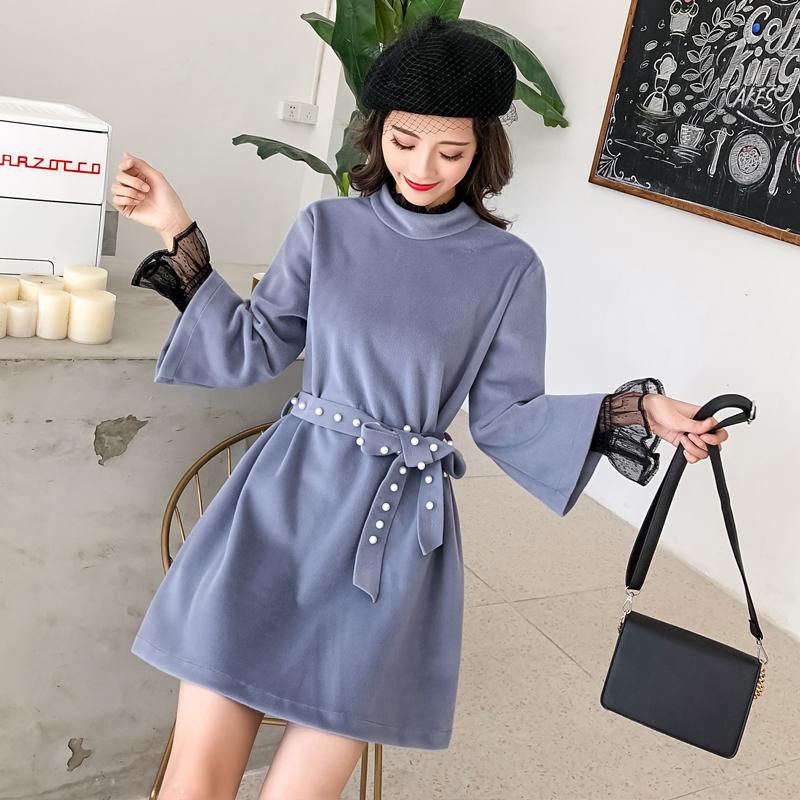 實拍新款半高領水貂絨連衣裙短款拼接網紗蕾絲喇叭袖A字裙