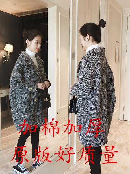2018秋季新款韩版显瘦百搭翻领长袖格子毛呢外套女中长款呢子大衣