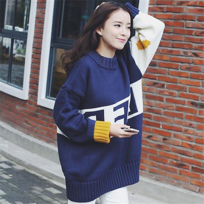 2018新品韩版秋冬拼色套头毛衣女字母中大学生加厚中长款高领外套