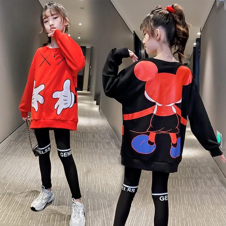 2021春秋新款女童卫衣运动两件套韩版中大童纯棉打底裤米奇套装