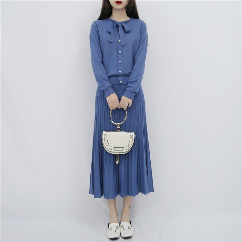 实拍秋冬新款小香风淑女气质针织毛衣+百褶裙半身裙套装两件套