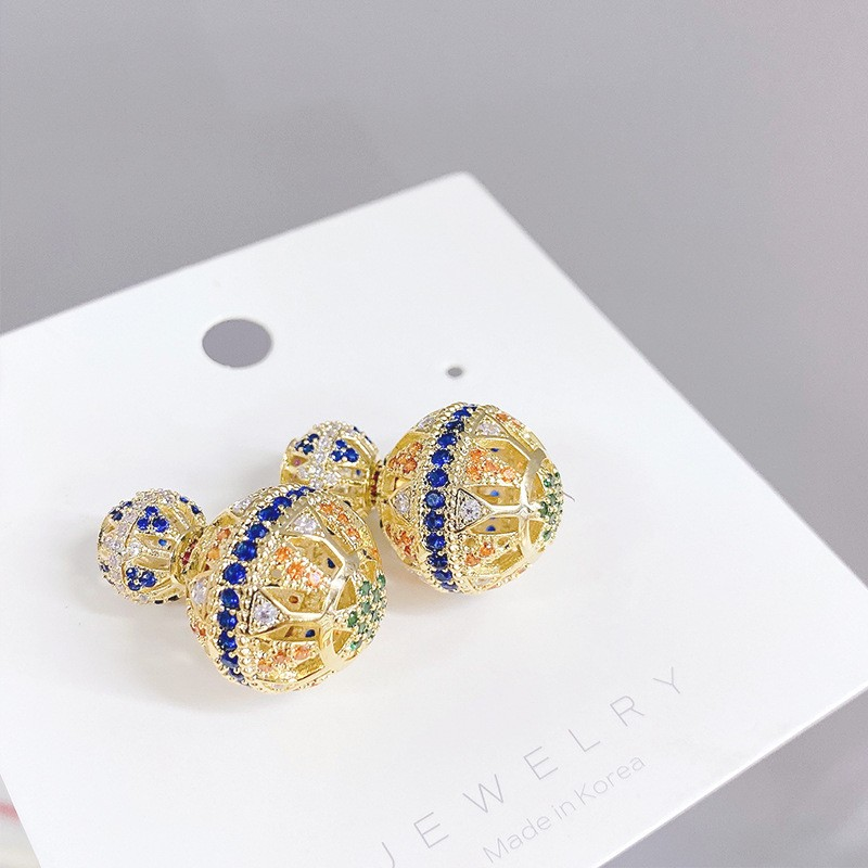 European and American micro inlaid color Zircon Earrings, female S925 silver needle hollow out drill ball, two earrings, tribal style earrings