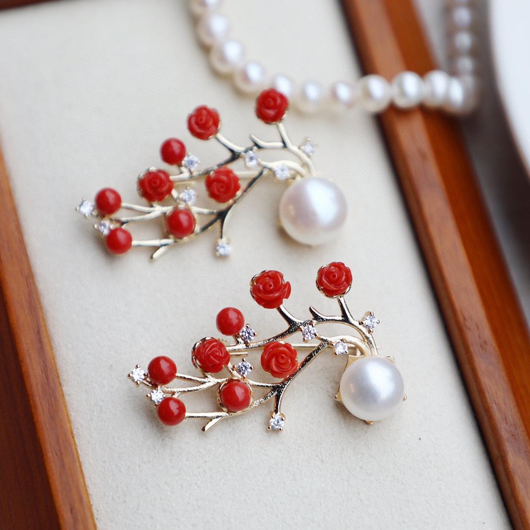 有机宝石 群镶珍珠做点缀 胸针 项链  DIY饰品 设计 服饰百搭