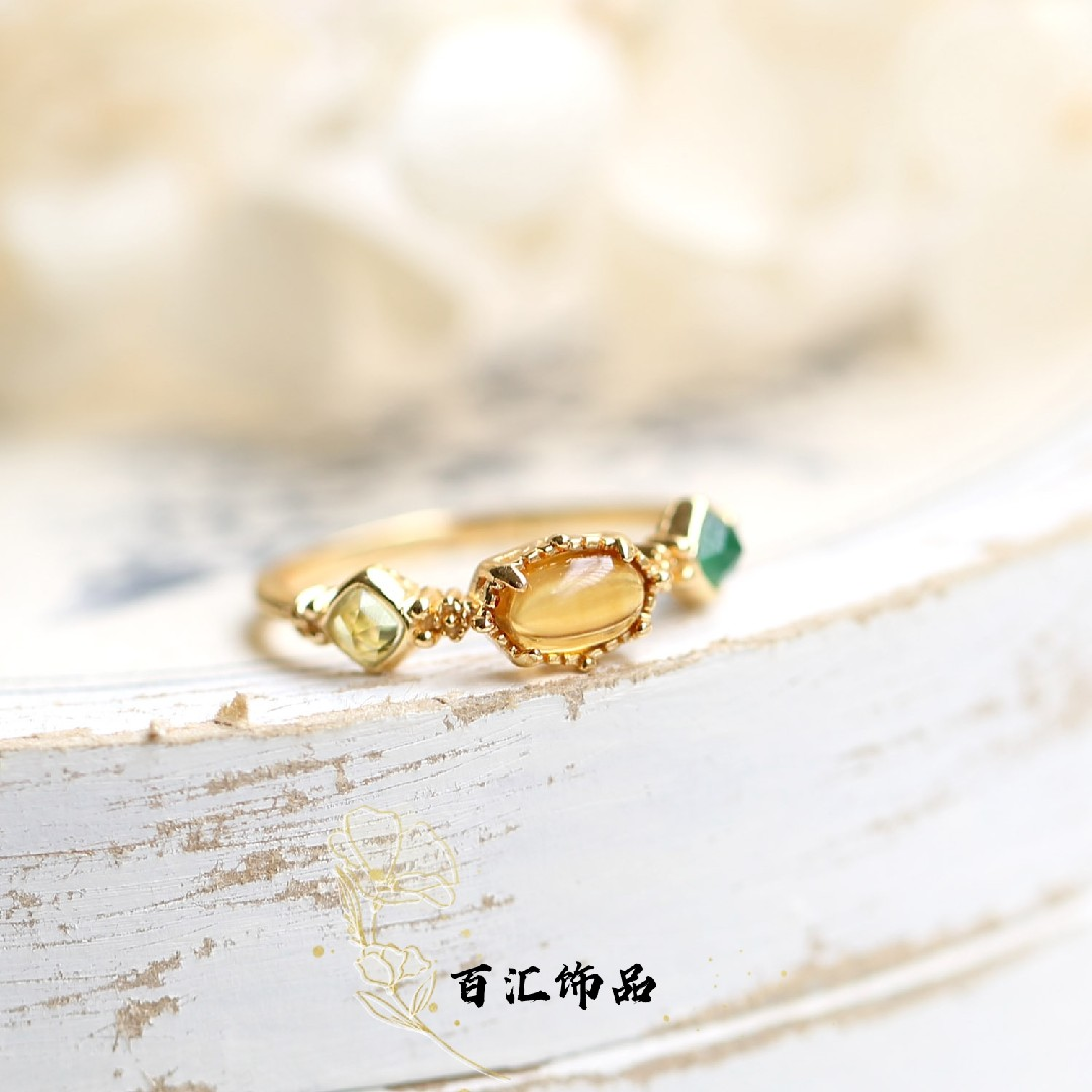 Japanese agete autumn and winter new natural amber Topaz Green Agate olive Multi Gem 925 Sterling Silver Ring