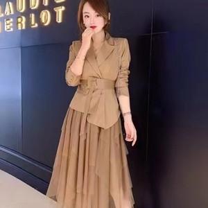 套裝女 新款時尚不規則沙裙漂亮時尚型