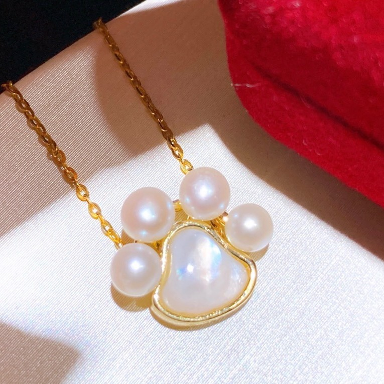 Sicily sweet and lovely cats paw earring NECKLACE 14K Gold Injection Natural Freshwater Pearl 925 silver ear needle