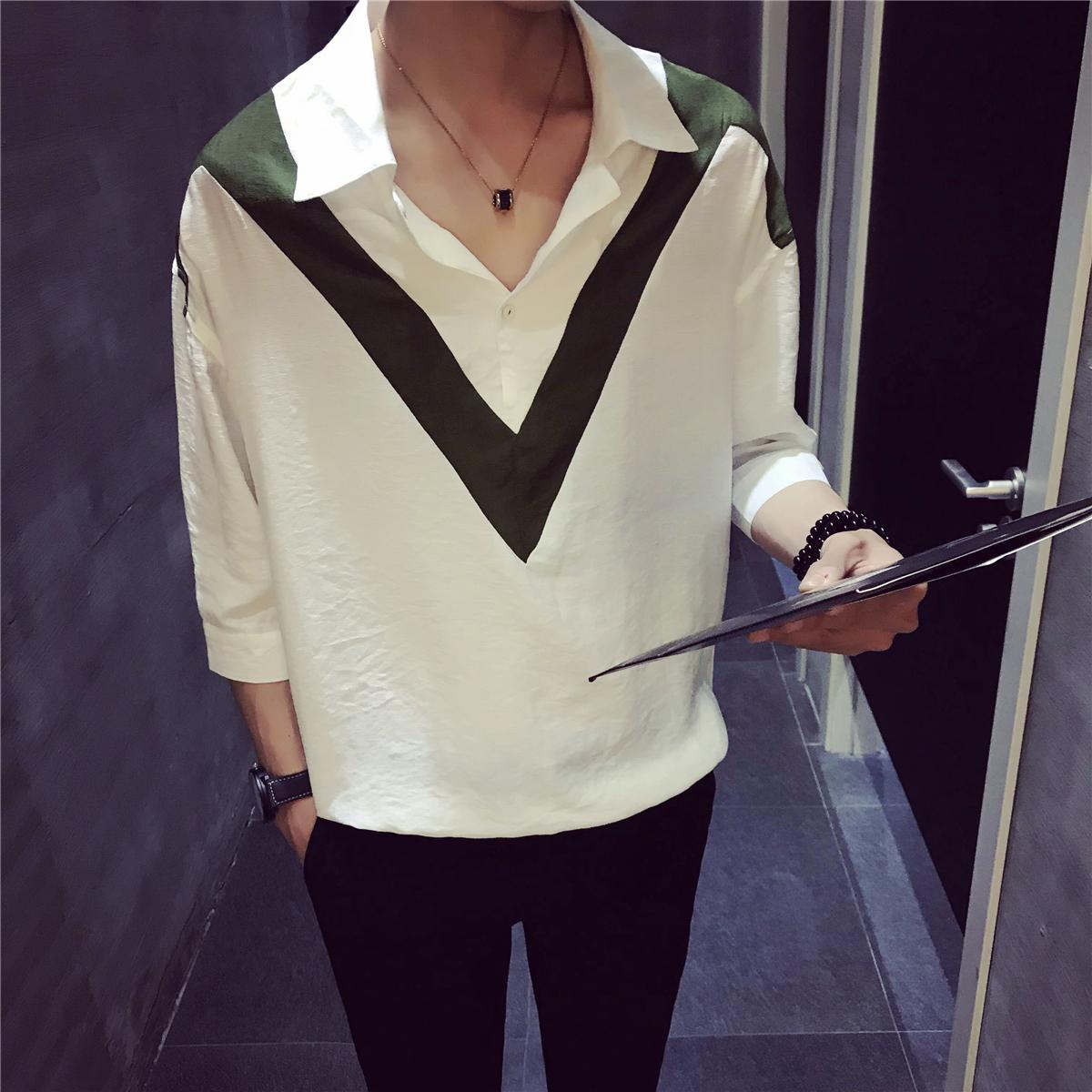 夏装新款7分袖T恤 中国风麻料T恤 翻领T恤S141P50