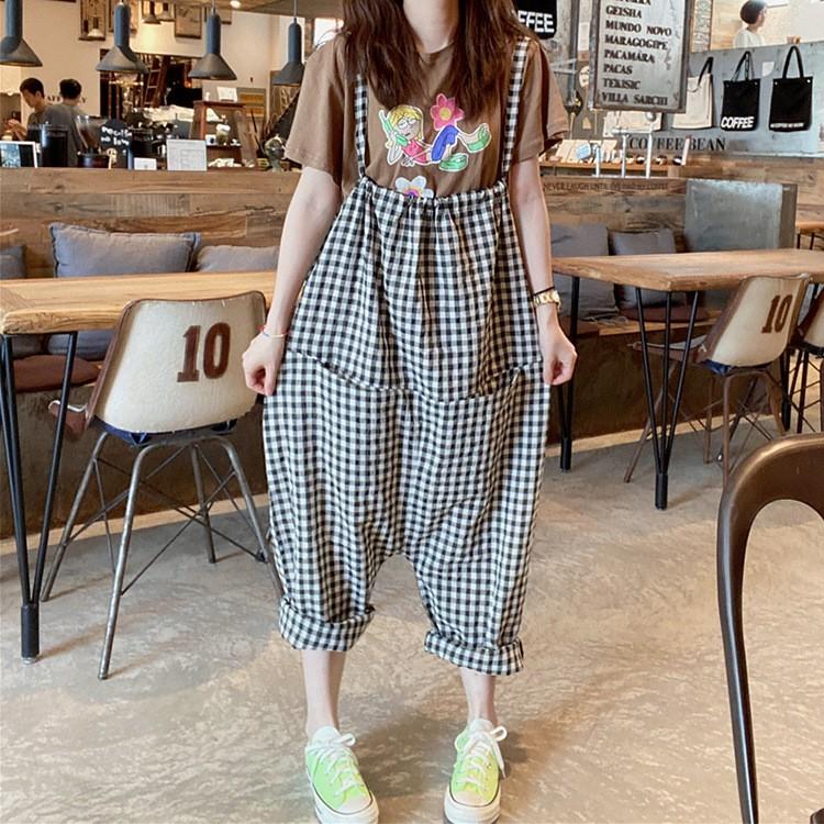 现货波拉同款韩国新款夏新品敲喜欢轻薄灰白格子大裆背带裤女包邮