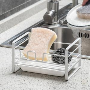 厨房铁艺置物架落地水池钢丝球海绵擦收纳架家用水槽台面沥水架子
