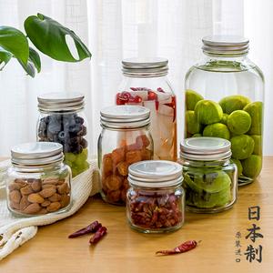 日本进口石塚硝子密封罐泡酒玻璃瓶子柠檬泡菜腌制食品储物罐带盖