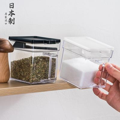日本进口家用翻盖调料盒厨房用品盐糖收纳盒子烧烤调味品塑料盐罐