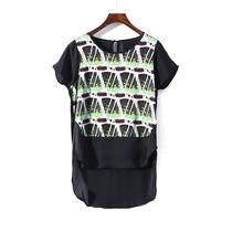 〖石〗欧美高端品牌折扣女装新款夏装宽松大码短袖雪纺衫33201