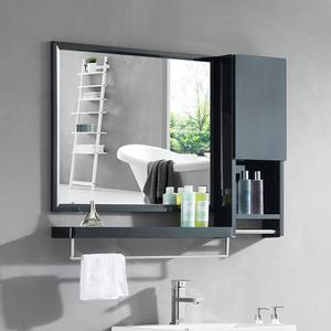 不锈钢洗漱梳妆镜子壁挂带置物架挂镜卫生间镜子收纳一体柜挂墙式