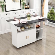 简约现代小户型伸缩折叠餐桌简易饭桌椅组合长方形移动厨房储物柜